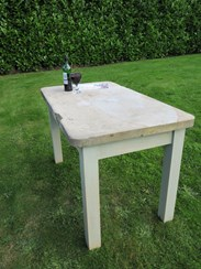 Image 3 - Antique Reclaimed Stone Top Table with a Pine Distressed Base