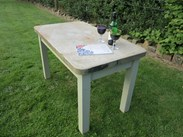 Image 4 - Antique Reclaimed Stone Top Table with a Pine Distressed Base