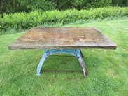 Garden Antique York Stone Table Top on Cast Iron Base