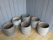 Vintage Galvanised Garden Planters With Handles