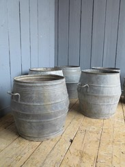 Image 3 - Vintage Galvanised Garden Planters With Handles