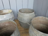 Image 4 - Vintage Galvanised Garden Planters With Handles