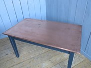 Copper Topped Table With Hand Distressed Base