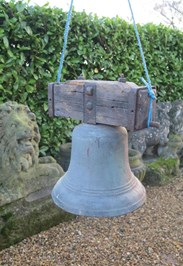 Antique Bronze Bell On Wooden Frame