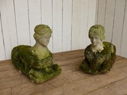 Image 1 - Pair of Antique Hand Carved Bath Stone Sphinx
