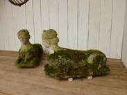 Image 5 - Pair of Antique Hand Carved Bath Stone Sphinx