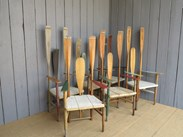 Unusual 6 Rowing Theme Vintage Chairs