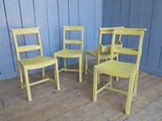 Set of 4 Hand Painted & Distressed Church Chairs