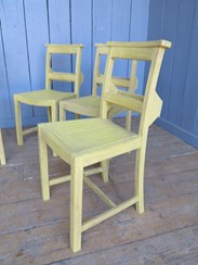 Image 3 - Set of 4 Hand Painted & Distressed Church Chairs
