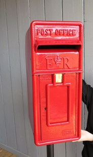 Original Red Arch Back Post Box With Stand
