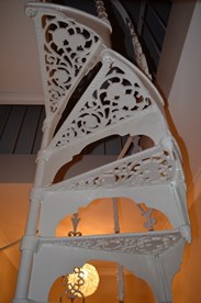 Image 3 - Cast Metal White Spiral Staircase with Balcony Railings