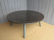 Antiqued Copper Round Table with Painted Oak Base