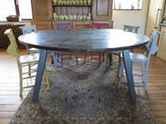 Showing the round copper table in-situ