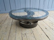 Large Vintage Industrial Glass and Cast Iron Coffee Table for sale at UKAA