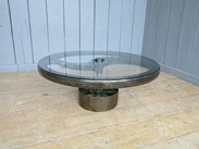 Large Vintage Industrial Glass and Cast Iron Coffee Table to buy at UKAA
