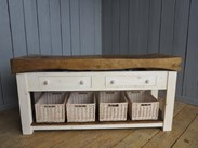 Antique Butchers Block With Baskets