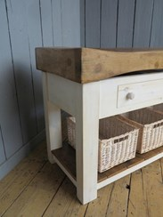 Image 4 - Antique Butchers Block With Baskets