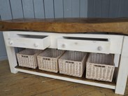 Image 5 - Antique Butchers Block With Baskets
