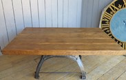 Image 1 - Reclaimed Pine Table with Antique Cast Iron Base