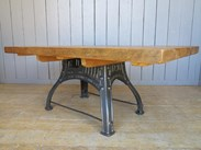Image 3 - Reclaimed Pine Table with Antique Cast Iron Base