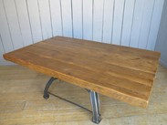 Image 4 - Reclaimed Pine Table with Antique Cast Iron Base