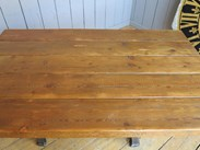 Image 5 - Reclaimed Pine Table with Antique Cast Iron Base