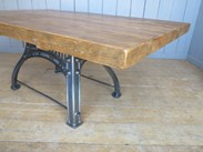 Image 6 - Reclaimed Pine Table with Antique Cast Iron Base