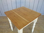 Image 2 - Reclaimed Plank Top Farmhouse Table With Painted Base