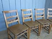 Image 2 - Set of 4 Antique Church Chairs with Lovely Back Rail Detail