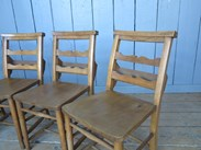 Image 3 - Set of 4 Antique Church Chairs with Lovely Back Rail Detail