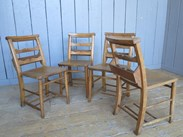 Image 4 - Set of 4 Antique Church Chairs with Lovely Back Rail Detail