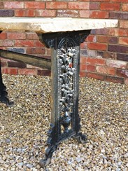 Antique Reclaimed and Salvaged Antique Stone Topped Cast Iron Garden Table to buy at UKAA