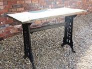Image 4 - Reclaimed Cast Iron Garden Antique Table With Stone Top