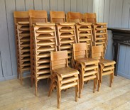Image 2 - Vintage Reclaimed Stacking Chairs With Book Holder