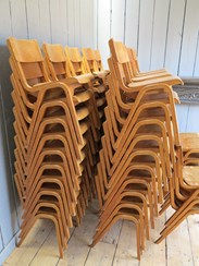 Image 4 - Vintage Reclaimed Stacking Chairs With Book Holder