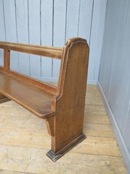 Image 3 - Antique Solid Oak Church Pew - 14 Available