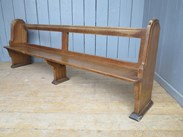 Image 4 - Antique Solid Oak Church Pew - 14 Available
