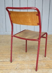 Image 2 - Red Tubular Plywood Seat Stacking Chairs