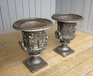 Image 1 - Pair of Magnificent Hand Burnished Medici Cast Iron Urns