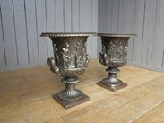 Image 2 - Pair of Magnificent Hand Burnished Medici Cast Iron Urns