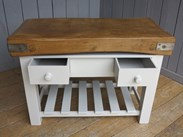 Image 2 - Antique Butchers Chopping Block On Painted Base - Kitchen Central Island