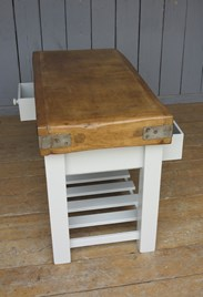 Side view of the original butchers block with distressed base