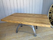 Image 1 - Reclaimed Pine Table with Antique Cast Iron Painted Base