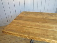 Image 4 - Reclaimed Pine Table with Antique Cast Iron Painted Base