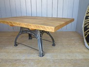 Image 6 - Reclaimed Pine Table with Antique Cast Iron Painted Base