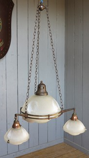 Image 1 - Antique Glass Globe Holophane 4 Light Chandelier