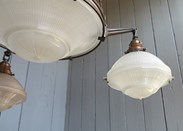Image 3 - Antique Glass Globe Holophane 4 Light Chandelier