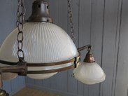 Image 6 - Antique Glass Globe Holophane 4 Light Chandelier