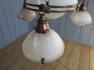 Image 7 - Antique Glass Globe Holophane 4 Light Chandelier