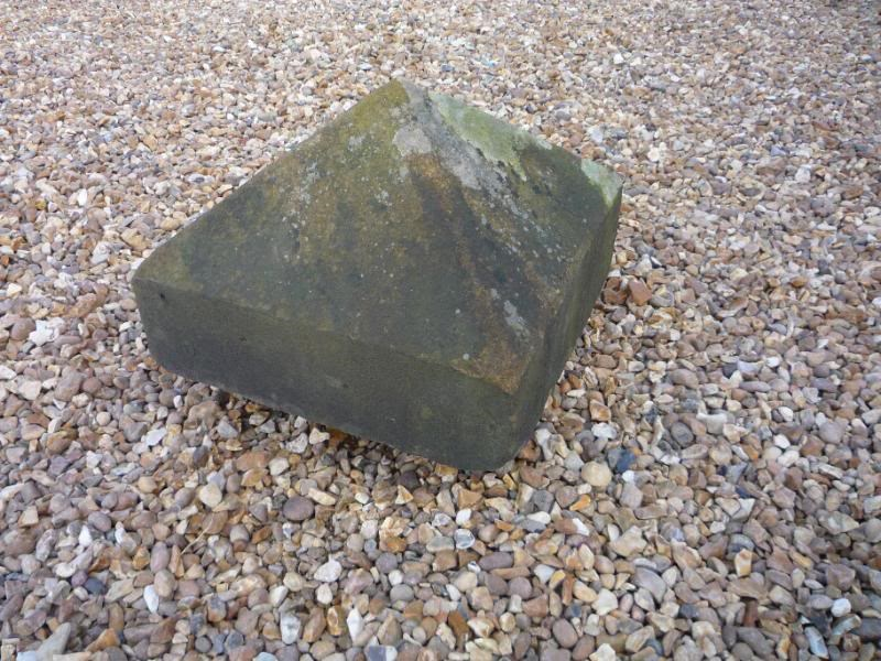 "Salvaged Antique Stone Pier Capping - 16 1/2"" X 16 1/2"" X 11 1/2"""